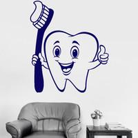 lindo papel tapiz de baño al por mayor-Lindo vinilo etiqueta de la pared positivo de dibujos animados diente cepillo de dientes decoración para el hogar Mural cuidado dental calcomanía baño papel pintado decorativo