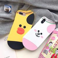 estuches para celulares de animales al por mayor-Para Iphone XR XS MAX X 10 8 7 Plus 6 6S 3D Oso de gato Pato Funda de silicona suave Diseñador de lujo Animal Marca de goma Teléfono celular Cubiertas de piel