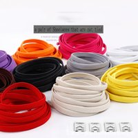 Wholesale shoelace elastic resale online - 1Pair CM Durable No Tie Lazy Shoelaces For Sneakers Sports Outdoor Rubber Shoes Lace Solid Red Safe Elastic Flat Shoe
