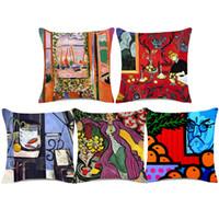 ingrosso coperture di cuscini di pitture-Henri Matisse Paintings Covers Covers Donna con un cappello The Open Window Art Cushion Cover in cotone decorativo per divano in cotone