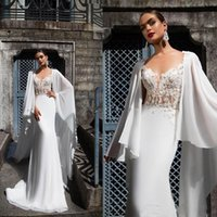 Wholesale bridal capes champagne resale online - 2020 Mermaid Wedding Dresses with Long Cape Appliques Covered Button Back Castle Wedding Gown Illusion Lace Bridal Gowns