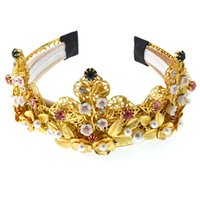 ingrosso parrucca colorata di moda-2019 Baroque Retro Hair Hoop Fashion Wild Colorful Crytsal Hair Accessoires Pparty Vintage Gold Metal Hairband Wig Head Band