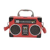 bolsa de caixa vermelha de mensageiro venda por atacado-Radio Box Estilo Pu New Retro couro senhoras bolsa bolsa de ombro bolsa de mulher bolsa DO Crossbody Messenger Bag Flap Red