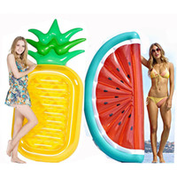 Wholesale kids inflatable beds resale online - Inflatable Pineapple watermelon Water Toy Giant Floating Bed Raft Air Mattress Summer Holiday Swmming Ring C6646