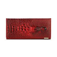 portefeuille clip carteira achat en gros de-Hérald Mode Femmes Portefeuille Tête De Crocodile PU Portefeuille En Cuir Femmes Bourse 3D Long designer Pince à billets Carteira Feminina