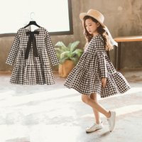 Wholesale floral bow shorts children for sale - Group buy Brand Autumn New Girls Dresses Children Cotton Dress Kids Plaid Dress Bow Baby Girls Cotton Dress Toddler Clothes L