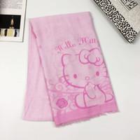 4e991d1c5a2d16 Neue Hallo Kitty Schal Mädchen Kinder Cartoon Rosa Katze Print Schal Quaste  Schal Hallo Kt Kitty Frauen Voile Bali Garn Kid