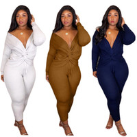 757ce05a7bb9 Summer Tracksuits Sexy Long Sleeve Deep V Neck Two Piece Outfits Women Blue  Tracksuits Size S-2XL