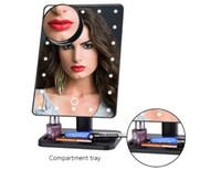 осветительные колонки оптовых-Горячая Bluetooth динамик 20 светодиодов огни макияж зеркало настольная макияж вечерний, регулируемое зеркало с 10х увеличением