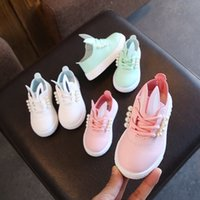 Wholesale casual single shoes resale online - Girls Princess Shoes Pearl Lace Up Leather Shoes Girls Flat Heel Spring Autumn Shoe Kids Single Shoe