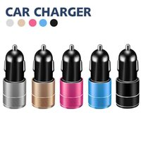 Wholesale led chargers for sale – best Car Charger Dual Charging Ports V A Portable Travel Charger Adapter with LED Light USB Charger For iPhone iPad Samsung Huawei LG