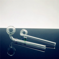 Wholesale 14cm curved glass oil resale online - QBsomk cm Curved glass pipes Glass Oil Burners Pipes with Different Colored Balancer Water Pipe smoking pipes