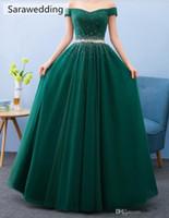 Hot selling Beaded Off Shoulder Evening Dresses Long Formal Dress 2019 Green Floor Length Prom Gowns vestido de noche