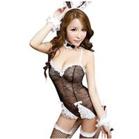 trajes de conejito de las mujeres al por mayor-Mujeres Lencería Sexy Babydoll Teddies Conejo Bunny Girl Costume Cosplay Set Halloween Adulto Animal Traje Vestido de lujo Clubwear
