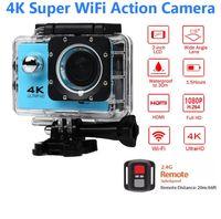 su geçirmez dijital video camcorder toptan satış-ELECTSHONG 1080 p Spor Wifi Kamera 4 K 16MP dijital video Kamera 30 m su geçirmez HD Uzaktan Kumanda Kamera 2.0 'Ekran