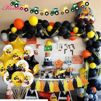 Wholesale party themes boys for sale - Group buy Construction Tractor Theme Excavator Inflatable Balloons Truck Vehicle Banners Baby Shower Kids Boys Birthday Party Supplies