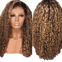 ingrosso parrucca ricci brasiliana afro kinky-Parrucca ondulata di modo delle donne Afro Lungamente crespi capelli ricci Marrone Parrucche ondulate capelli brasiliani Parrucca sexy del partito Nuovo 2M81105