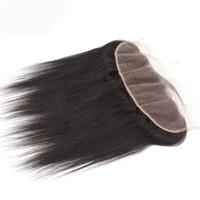 produtos de cabelo encaracolado natural preto venda por atacado-Virgem Indiano Laço Do Cabelo Humano Frontal 13x4 Orelha A Orelha Fechamento Rendas Suíço Do Corpo Onda Profunda Kinky Curly Natural Produtos de Cabelo Liso Preto