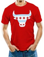 фитнес-флаг оптовых-Футболки для мужчин Топы с коротким рукавом Хлопковые футболки для фитнеса Мужская футболка Chicago Flag Bull