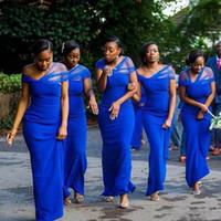 vaina azul real vestidos de dama de honor al por mayor-Vestidos de dama de honor con funda azul real de tul sudafricana y vestidos de dama de honor de satén para el piso de la boda Vestido de dama de honor barato