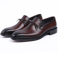 tan mens dress shoes leather 도매-CLORISRUO 패션 블랙 / 브라운 tan loafers mens wedding shoes 정품 가죽은 t