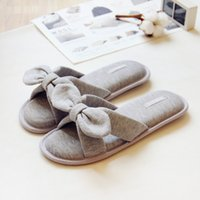 Wholesale wooden heeled shoes resale online - Summer Japanese Cotton Ladies Slipper Shoes Bow Slippers Non slip Wooden Floor Slippers Cute Home Women