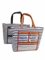 ingrosso trasparenti borse da trasporto-Blanks borsa di visualizzazione a strisce in PVC tela all'ingrosso Trasporta tutto tote di rossetto borsa a olio essenziale con tasche chiare LJJM1984