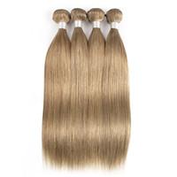 28 parça saç örgüsü toptan satış-Renk # 8 Kül Sarışın Düz Saç Örgü Demetleri 3/4 Parça 16-24 inç Brezilyalı Malezya Hint Perulu Remy İnsan Saç Uzantıları