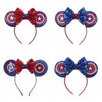 amerika saç aksesuarları toptan satış-Avengers Bebek Yay Bandı Çocuk Kız Pullu Kaptan Amerika Saç Çocuk Şapkalar Moda Saç Aksesuarları TTA929 Sopalarla