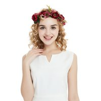 Wholesale red wedding bridesmaid accessories resale online - New Design Hair Crown Rose Flower Bridal Floral Crown Cute Band Wreath Mint Head Wreath Wedding Bridesmaid Women Hair Accessories