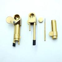 ingrosso ottone dorato-Brass Proto Smoking Pipe Pipa in metallo Specialty Hand Pipe in colore dorato Strumento di fumare Olio di tabacco Hidden Bowl all'ingrosso