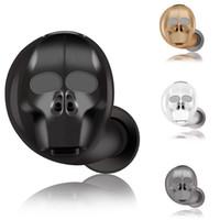 Wholesale skulls earphones resale online - Skull Mini Wireless Bluetooth Earphone Noise Cancelling Stereo Wireless Bluetooth Headset Handsfree for xiaomi iphone huawei SK20