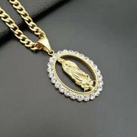 edelstahl jungfrau mary anhänger großhandel-Europa-Art-Kreuz-Grenze Hip-Hop-Halskette Schmuck 316 Edelstahl vergoldet Diamanten Virgin Mary-Anhänger-Halskette Zubehör M150Y