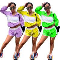 calçado amarelo roxo venda por atacado-Mulheres verão manga longa Fatos de Treino Sunscreen zipper up grade de gaze patchwork trench shorts terno conjunto de duas peças trajes amarelo roxo verde