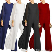 c1484c792ed Cocktail Evening Women Jumpsuits For Wedding Chiffon Flared Sleeve Wide Leg Elegant  Jumpsuit White Black Red Blue