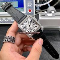 reloj deportivo blanco cuadrado al por mayor-Cheap Luxry Diamond Bezel Master Square 6000 H SC DT White Date Dial Reloj mecánico automático para hombre Caja de plata Correa de cuero Relojes deportivos