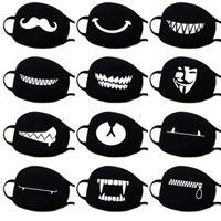 beyaz maske karikatür toptan satış-Hava Kirliliği Durdurmak Ev Karikatür Güzel Pamuk Maskeleri Sıcak Tutmak Kadın Giyim Aksesuarları Siyah Beyaz Ağız Muffle Solunum Koruması