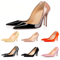 a1296e63d5d2b With box Fashion designer women shoes red bottom high heels 8cm 10cm 12cm  Nude black red pink Leather Pointed Toes Pumps Dress shoes