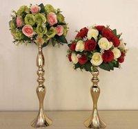 candelero de metal huracán al por mayor-32cm 38cm 50cm Altura de metal vela titular de la vela soporte central de la boda de la flor del estante del camino de oro de plomo y plata
