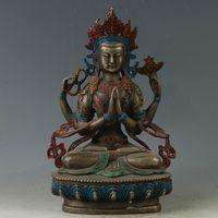 estatua de mano de china al por mayor-El latón chino antiguo exquisito de talla dorada figura de Buda Estatua GL347 Colección manualidades decoración ornamental Mano