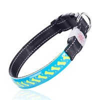 colar usb venda por atacado-Coleira luminescente ajustável do animal de estimação do couro do cão do diodo emissor de luz de USB recarregável