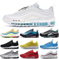 серебряный иезус оптовых-NIKE AIR MAX Laser Fuchsia triple white mens running shoes LONDON SUMMER OF LOVE black Silver Bullet South Beach Men women sports Sneakers 36-45