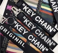 cinturones de regalos de empresa al por mayor-correa superior de visita blanca del llavero de aleación de llavero llave del coche del diseñador del anillo de la lona Off Llaveros Regalos de lujo personalizada