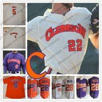 заказное пиво оптовых-Пользовательские Клемсон Тигры 2019 колледж Бейсбол любое количество имя белый оранжевый фиолетовый пуловер кнопка #28 Seth пиво 8 Логан Дэвидсон Джерси S-4XL