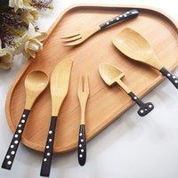 стиль здоровья оптовых-6 стилей бамбук горошек ложка вилка здоровье и охрана окружающей среды посуда портативный кемпинг путешествия посуда ложка вилка BH1812 CY