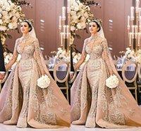 Wholesale vestido noiva high neck dress mermaid resale online - New Arabic Dubai Long Sleeve Wedding Dress Gorgeous High Neck Mermaid Lace Appliques Detachable Train Bridal Gown vestido de noiva