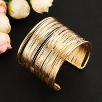 brazaletes de cuerda al por mayor-Los cables de múltiples capas de metal de la moda de las mujeres Cuerdas brazalete abierto manguito ancho