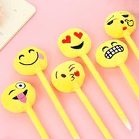 Wholesale stationery prizes for sale - Group buy 20pcs Cute D Expression design fluffy soft Ball Ballpoint pen funny students prize gift office school Stationery supplies