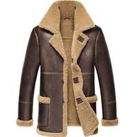 echte schaffell pelzmäntel großhandel-Nice Pop Men Schaffell Leder Winterjacke Think Warm Fur One Herren Motorrad Echtledermantel Real Jacket Men