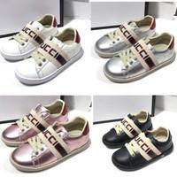 gündelik ayakkabılar kız çocukları toptan satış-Moda Çocuk Flats ayakkabı Deri Su geçirmez Çocuk yürümeye başlayan Casual eğitmenler oğlan kız Kaykay spor ayakkabıları